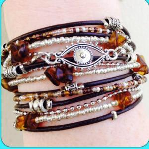 Boho Chic Brown Leather Evil Eye Wr..