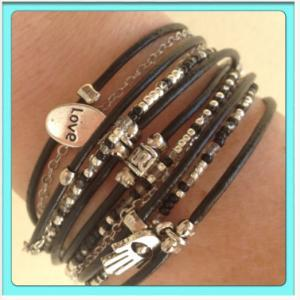 Black Boho Leather Wrap Bracelet wi..