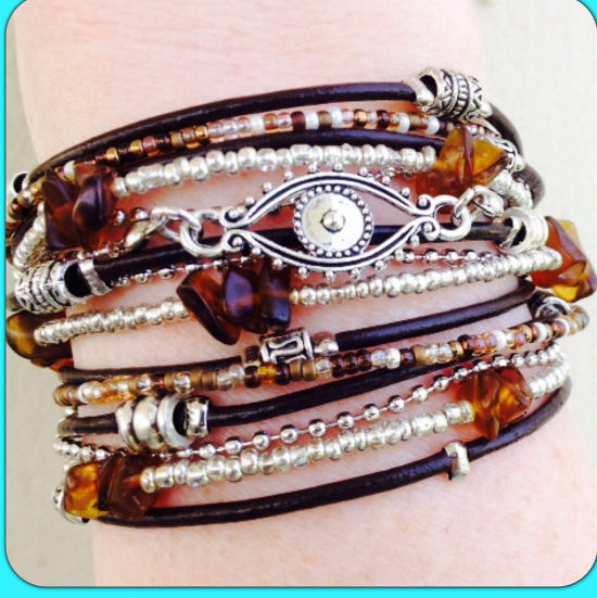 Boho Chic Brown Leather Evil Eye Wrap Bracelet with Silver Accents, Evil Eye Jewelry