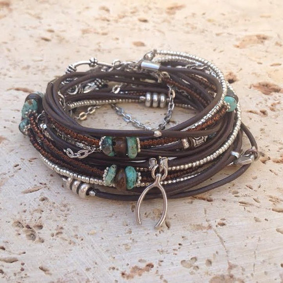 Boho Brown Leather Wrap Bracelet Silver Miyuki Beaded Triple With Charms Tibetan