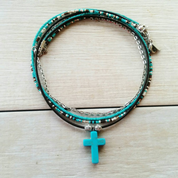 Boho turquoise cross necklace turquoise crucifix layering leather boho turquoise cross necklace turquoise crucifix layering leather cord beaded jewelry silver chain cross aloadofball Image collections