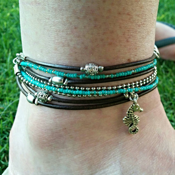 Wrap Anklet Turquoise Gypsy Beaded Ankle Bracelet Silver Charm Double Choose
