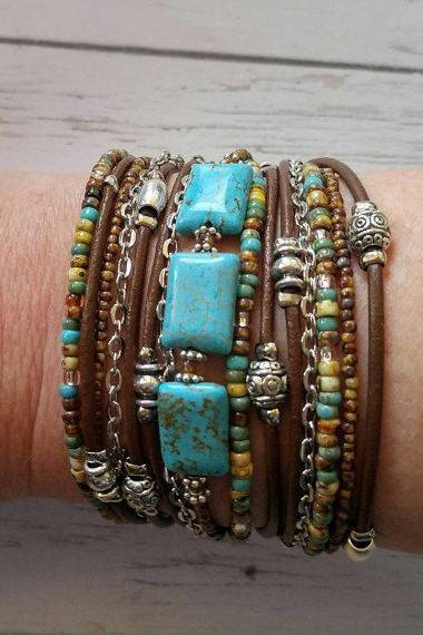 Beaded Wrap Bracelet// Leather Wrap Bracelet// Turquoise & Brown// Bohemian Jewelry// Multi Strand Leather Cuff// Turquoise Jewelry
