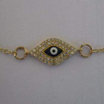 14K Gold Filled or Sterling Silver Evil Eye Necklace, Celebrity Style. As seen on Rihanna and Kim Kardashian