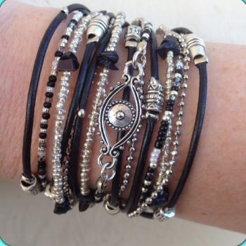 Boho Chic Black Leather Evil Eye Wrap Bracelet with Silver Accents, Evil Eye Jewelry