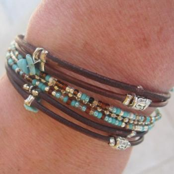 Boho Beaded Dark Brown Distressed Style Leather Charm Bracelet