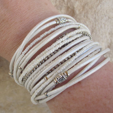 Pearl White Leather Wrap Bracelet With Silver Accents And Miyuki Beads